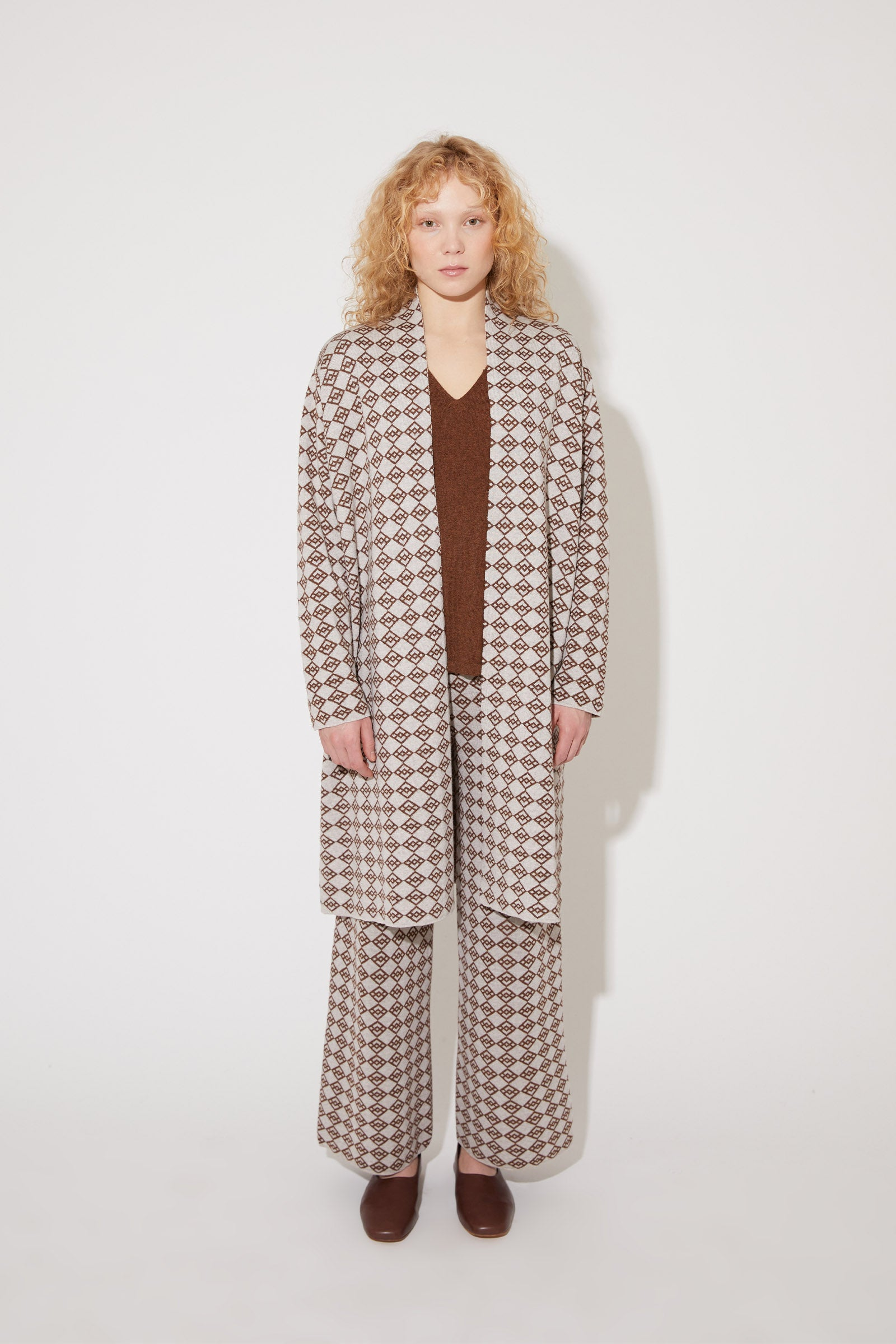 Avery merino symbol coat in brown-light beige