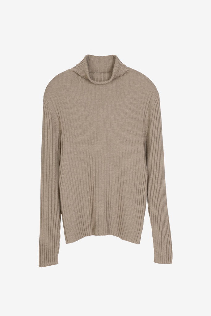 Bice merino turtleneck in sand brown