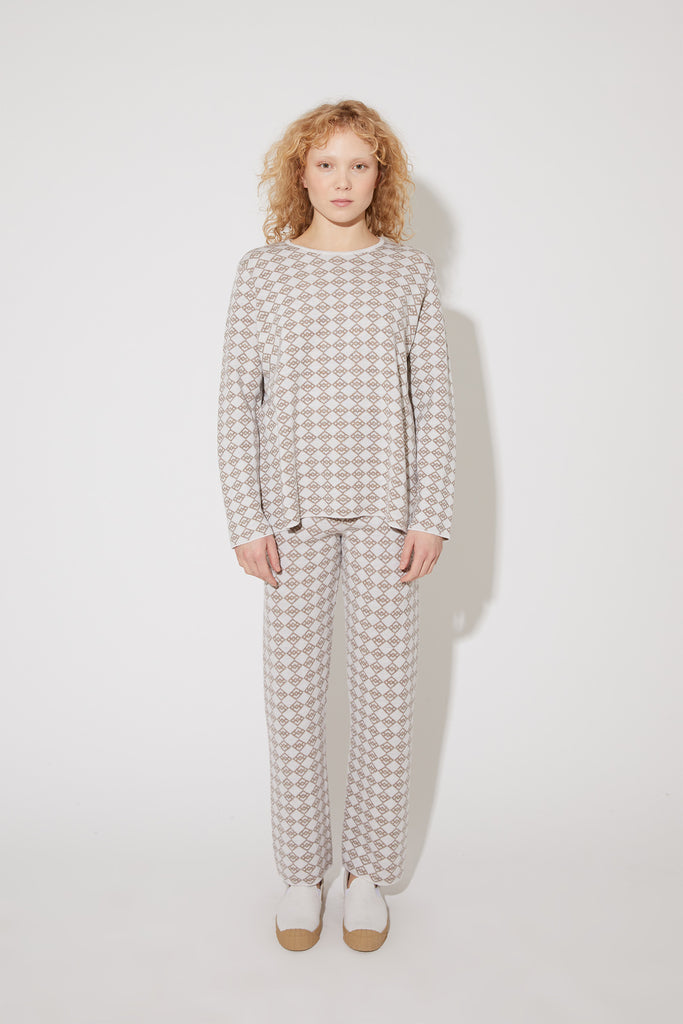 Juno long symbol trousers in frost