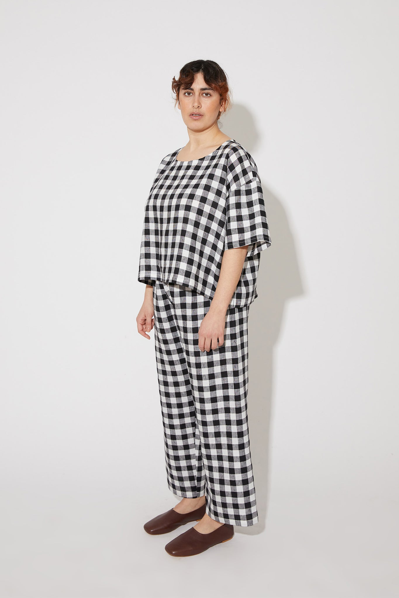 Nika cropped top in black-white gingham linen