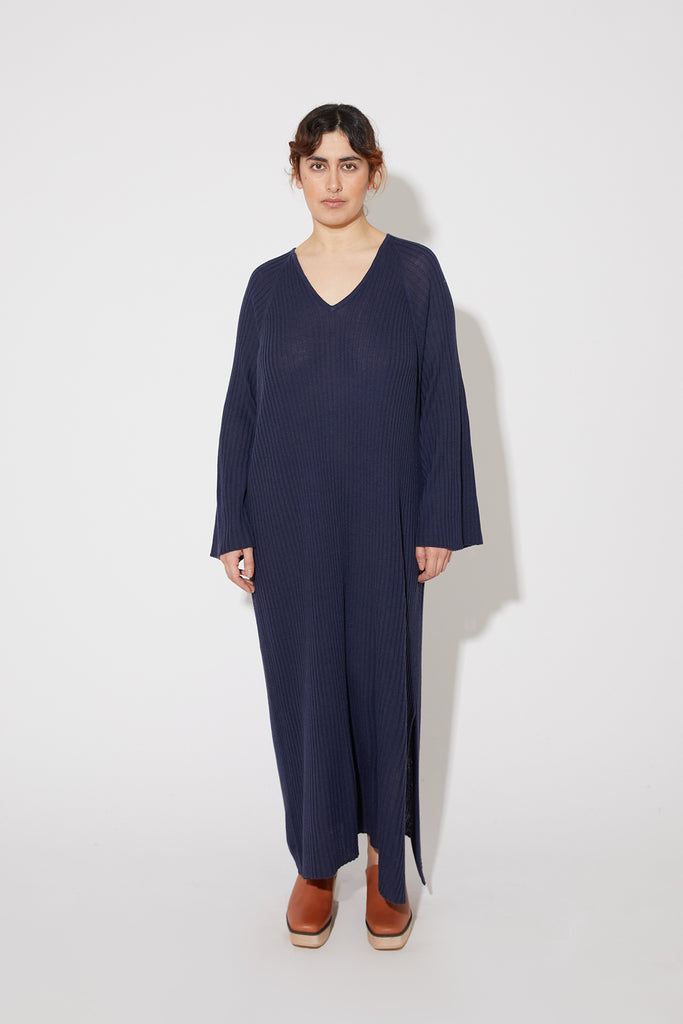 Tamuna merino kaftan dress in blue