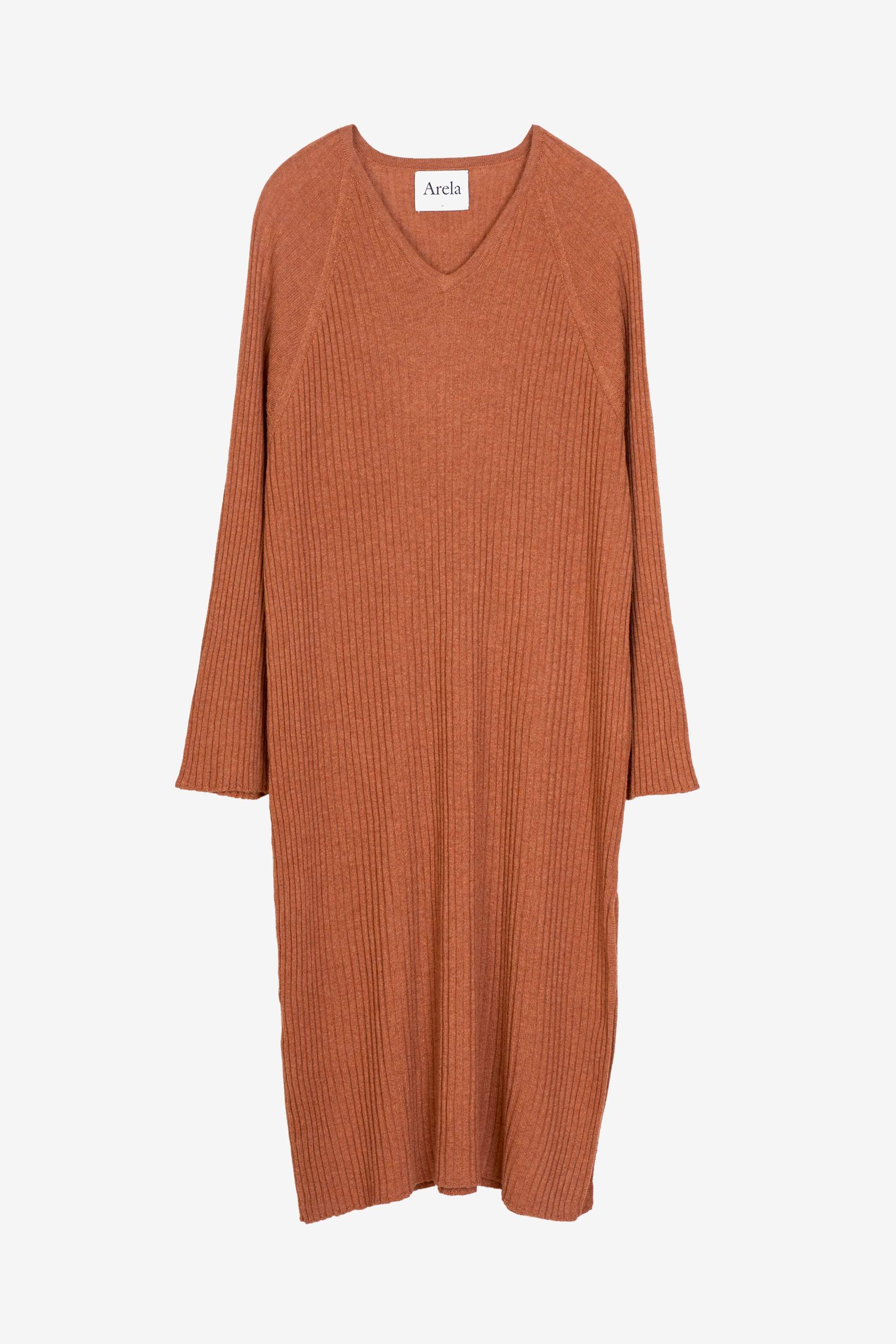 Tamuna merino kaftan dress in rust