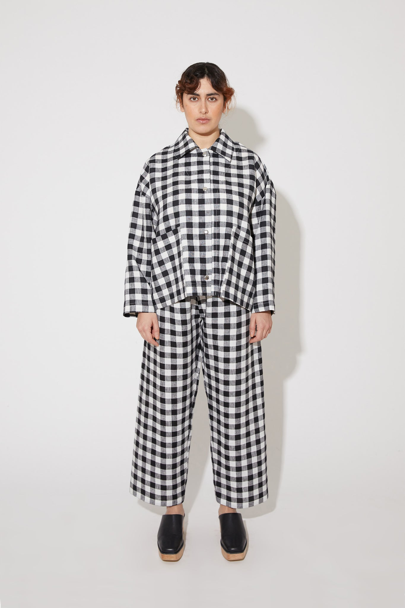 Tove jacket in black-white gingham linen