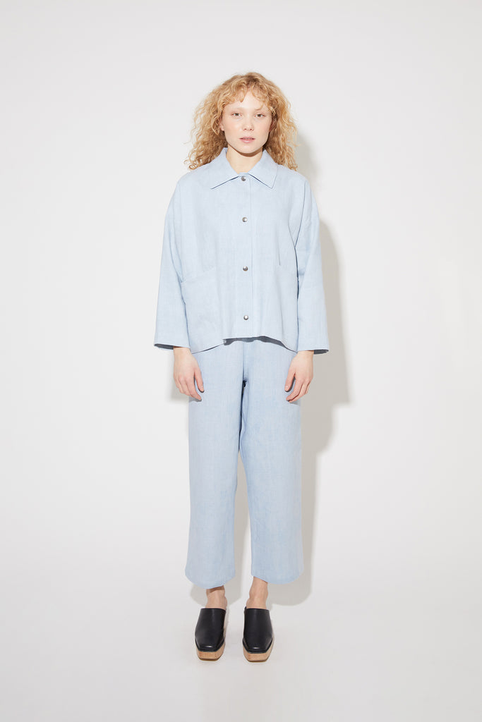 Tove jacket in morsinko blue linen
