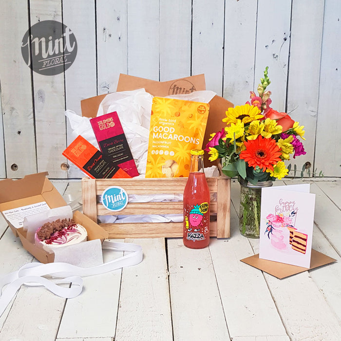 Raspberry Birthday Cake Gift Crate