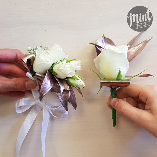 School Ball Wrist Corsage - With Rose Gold Foliage