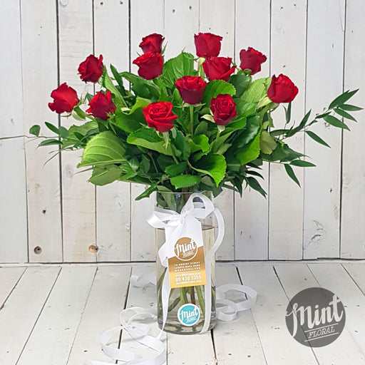 Romantic Red Rose Bouquet - One Dozen - 12 Stems