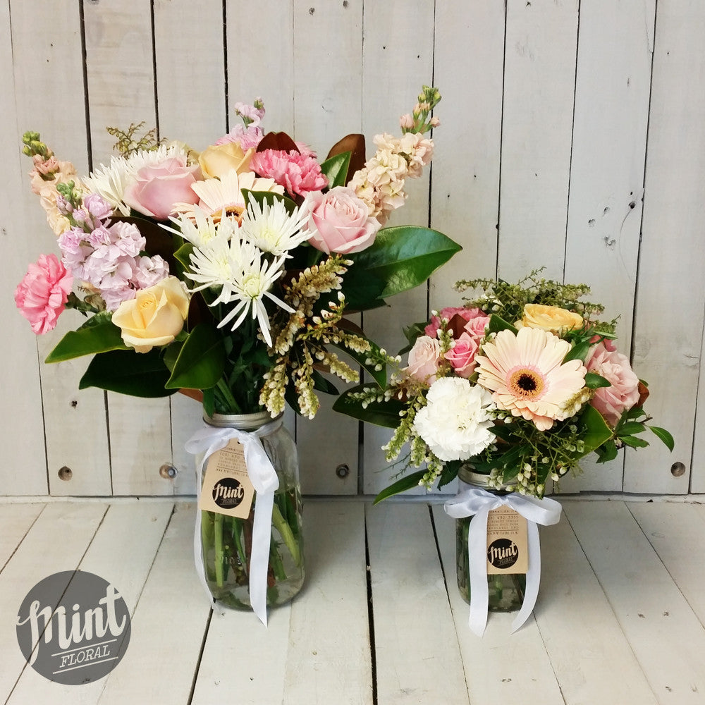 Pastel Preserving Jar Posy