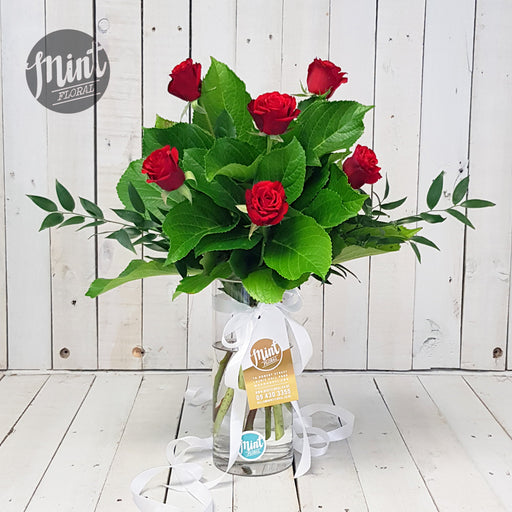 Romantic Red Rose Bouquet - Half Dozen - 6 Stems