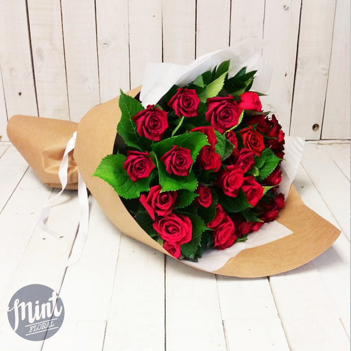 Two Dozen Deluxe Red Roses - Wrapped