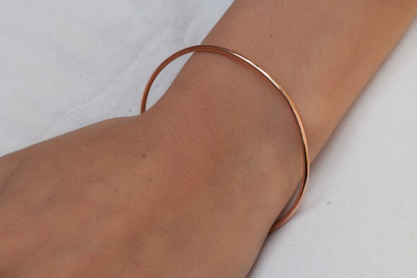 Bracelet jonc simple plaqué or rose