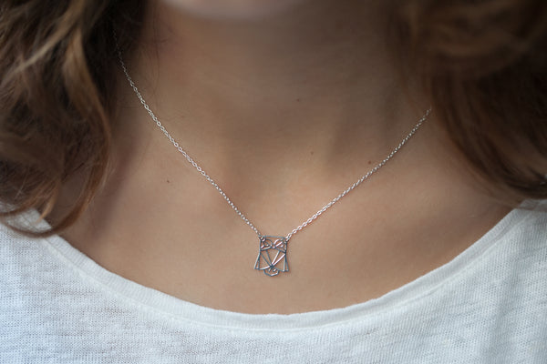 Collier hibou origami - argent 925