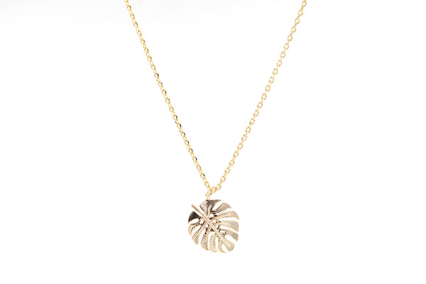 Collier Monstera doré.  Collier Jungle