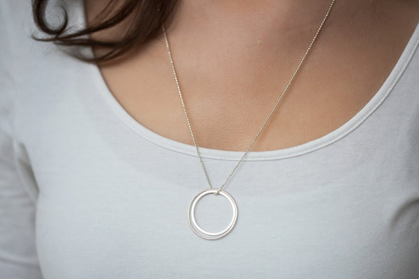 Collier long 2 ronds en argent véritable