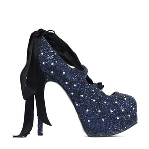 Lace-Up Shoes - Navy Glitter UK 7