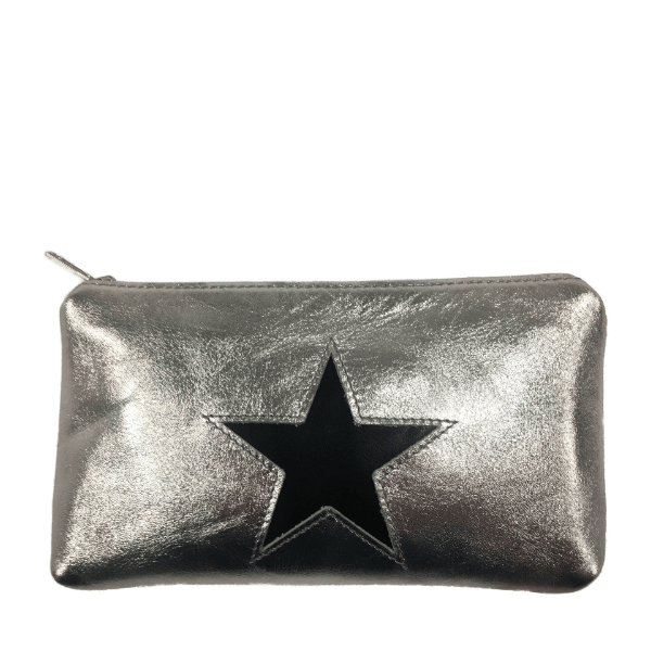 Silver and Black Pouch Purse