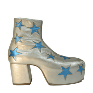 Star Boots - Champagne and Pale Blue