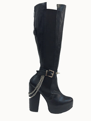 Dungeon Leather Knee High Boot