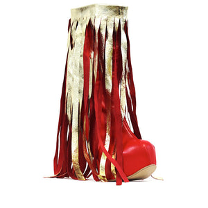 Fringed Boots - Red/Gold UK 7