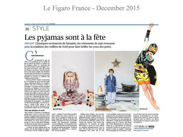 Le Figaro - My little Shop in the Press - nightwear - Life of kids in Pyjamas