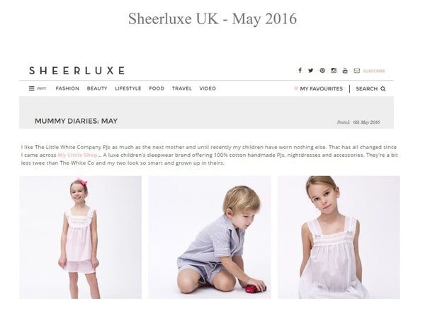 Sheerluxe Magazine - My little Shop in the Press - nightwear - Life of kids in Pyjamas