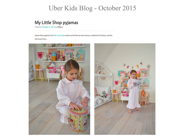 Uber kids blog - My little Shop in the Press - nightwear - Life of kids in Pyjamas