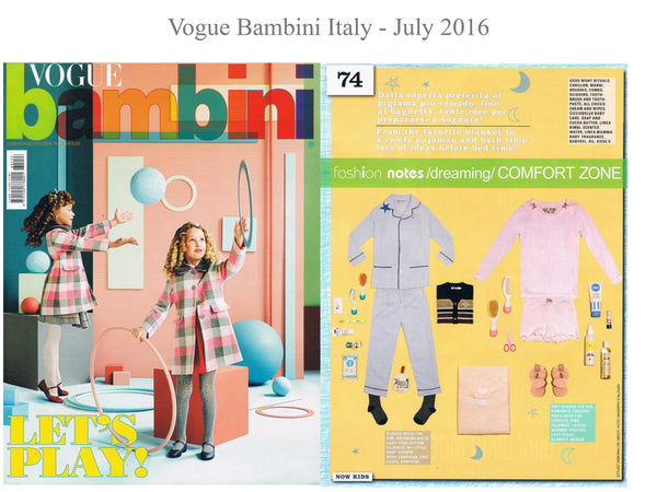 Vogue Bambini - My little Shop in the Press - nightwear - Life of kids in Pyjamas