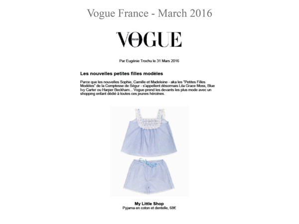VOGUE - My little Shop in the Press - nightwear - Life of kids in Pyjamas