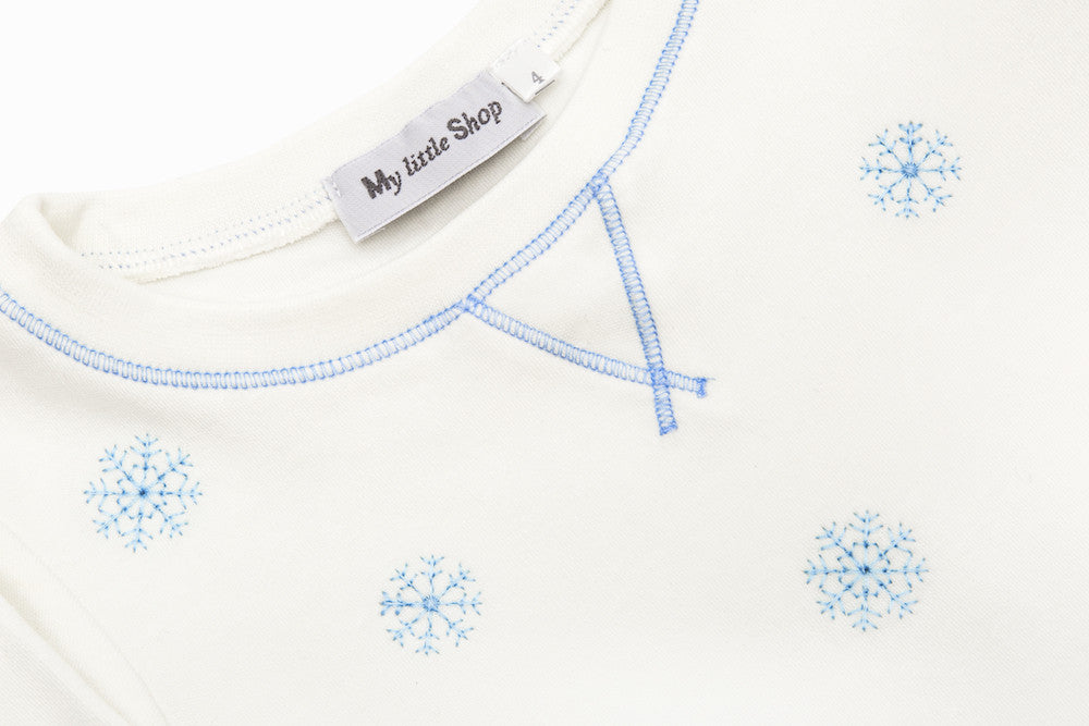 White with Blue Snowflakes Skinny Pyjamas
