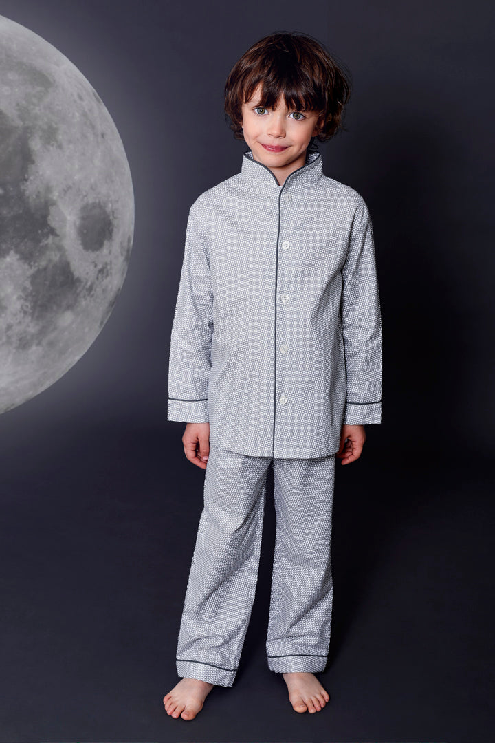 Marcel boys geometric pattern pyjamas Winter collection personalised pyjamas - luxury nightwear for kids