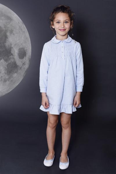 Allegra blue girls nightdress Winter collection personalised pyjamas - luxury nightwear for kids