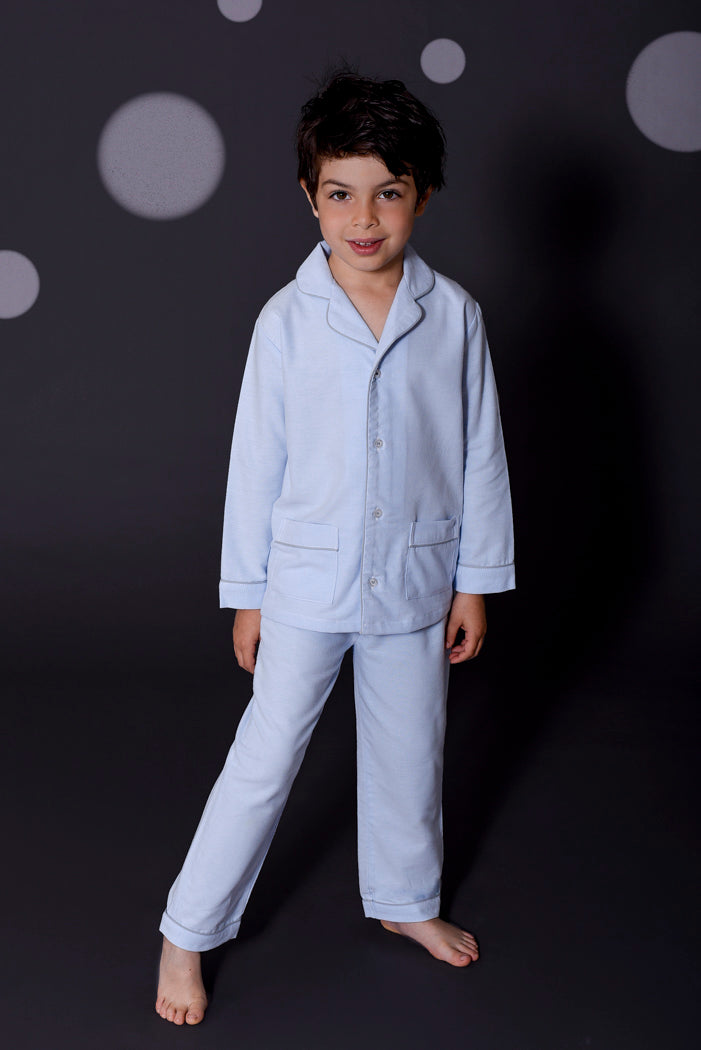 Ben boys light blue pyjamas Winter collection personalised pyjamas - luxury nightwear for kids