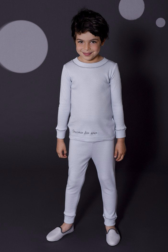 Jules boys skinny grey pyjamas Winter collection personalised pyjamas - luxury nightwear for kids