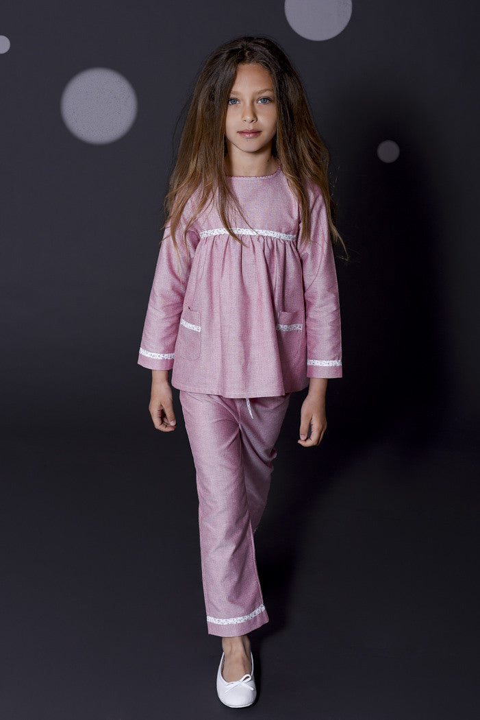 Lou Girls Pink Children Pyjamas