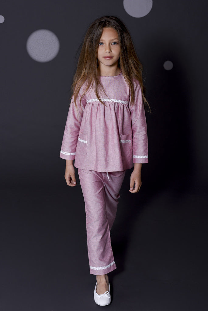 Lou red and liberty pyjamas Winter collection personalised pyjamas - luxury nightwear for kids