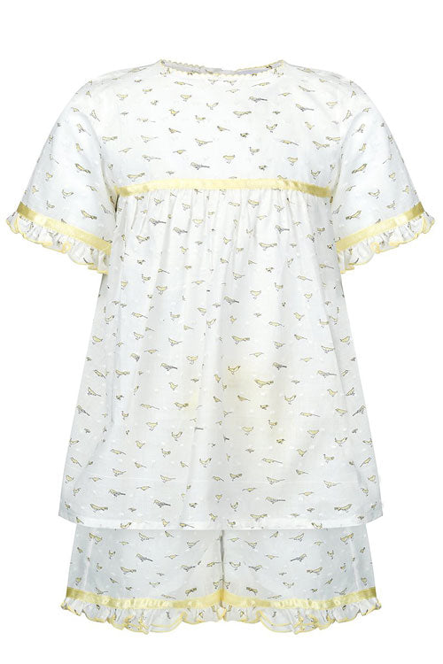 Birdy Girls White and Yellow Children Pyjamas
