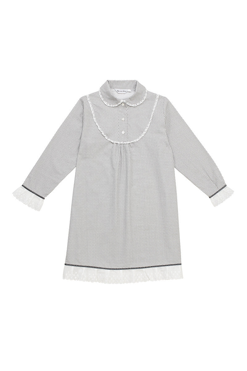 Edith Girls Grey Children Night Dress