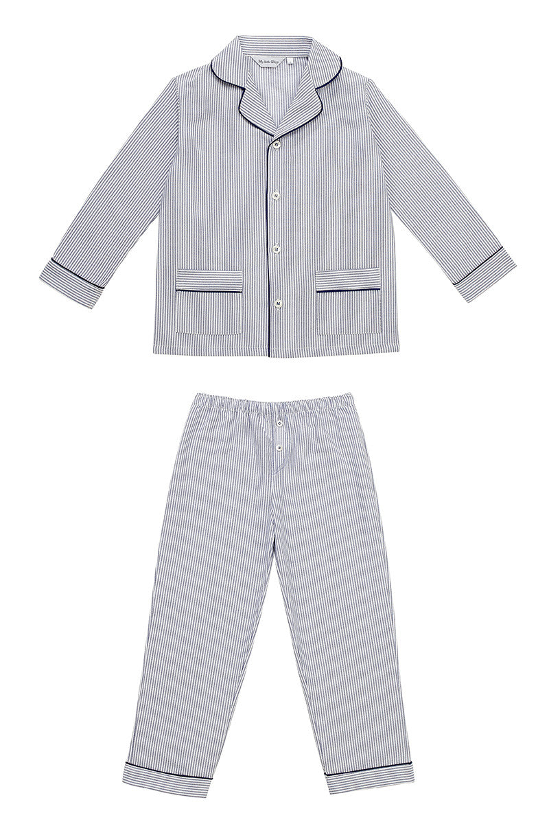 Lad boys stripped pyjamas Winter collection personalised pyjamas - luxury nightwear for kids