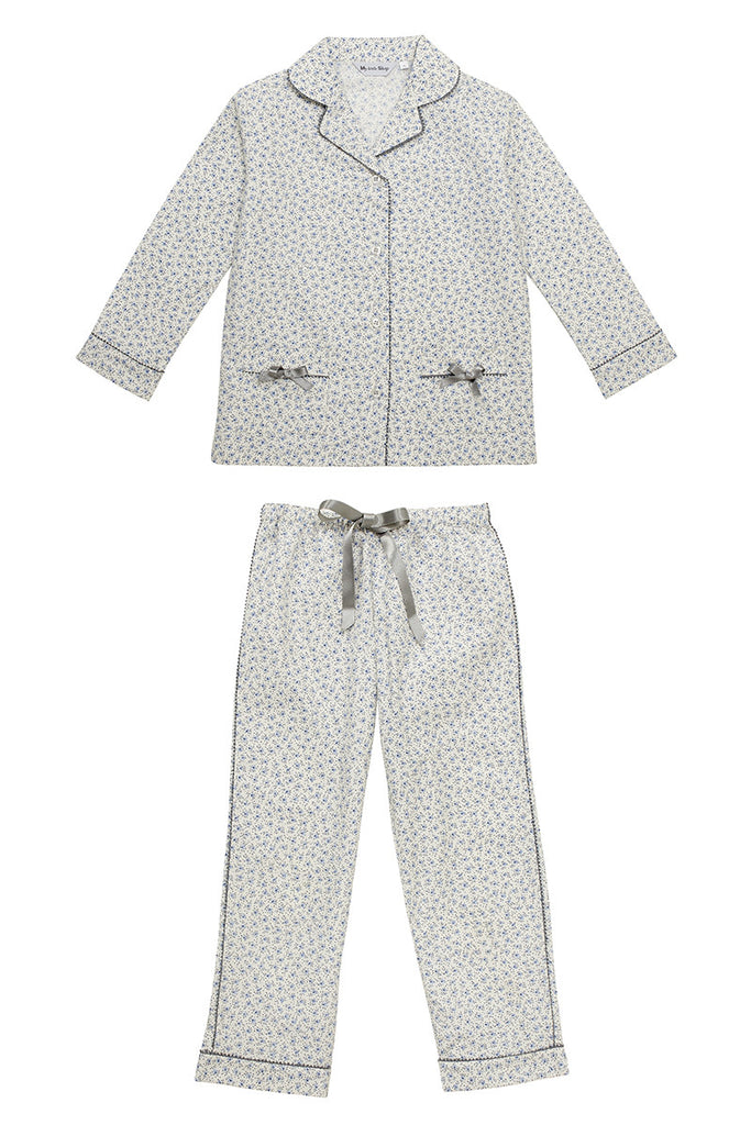 Delia blue liberty pyjamas Winter collection personalised pyjamas - luxury nightwear for kids