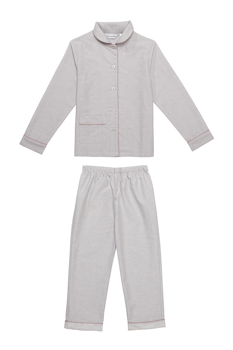 Ralph light grey boys pyjamas Winter collection personalised pyjamas - luxury nightwear for kids