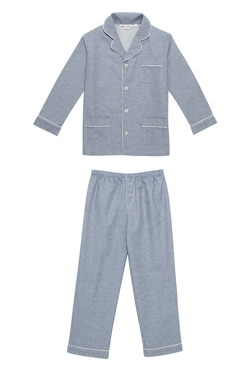 James boys blue jeans pyjamas Winter collection personalised pyjamas - luxury nightwear for kids