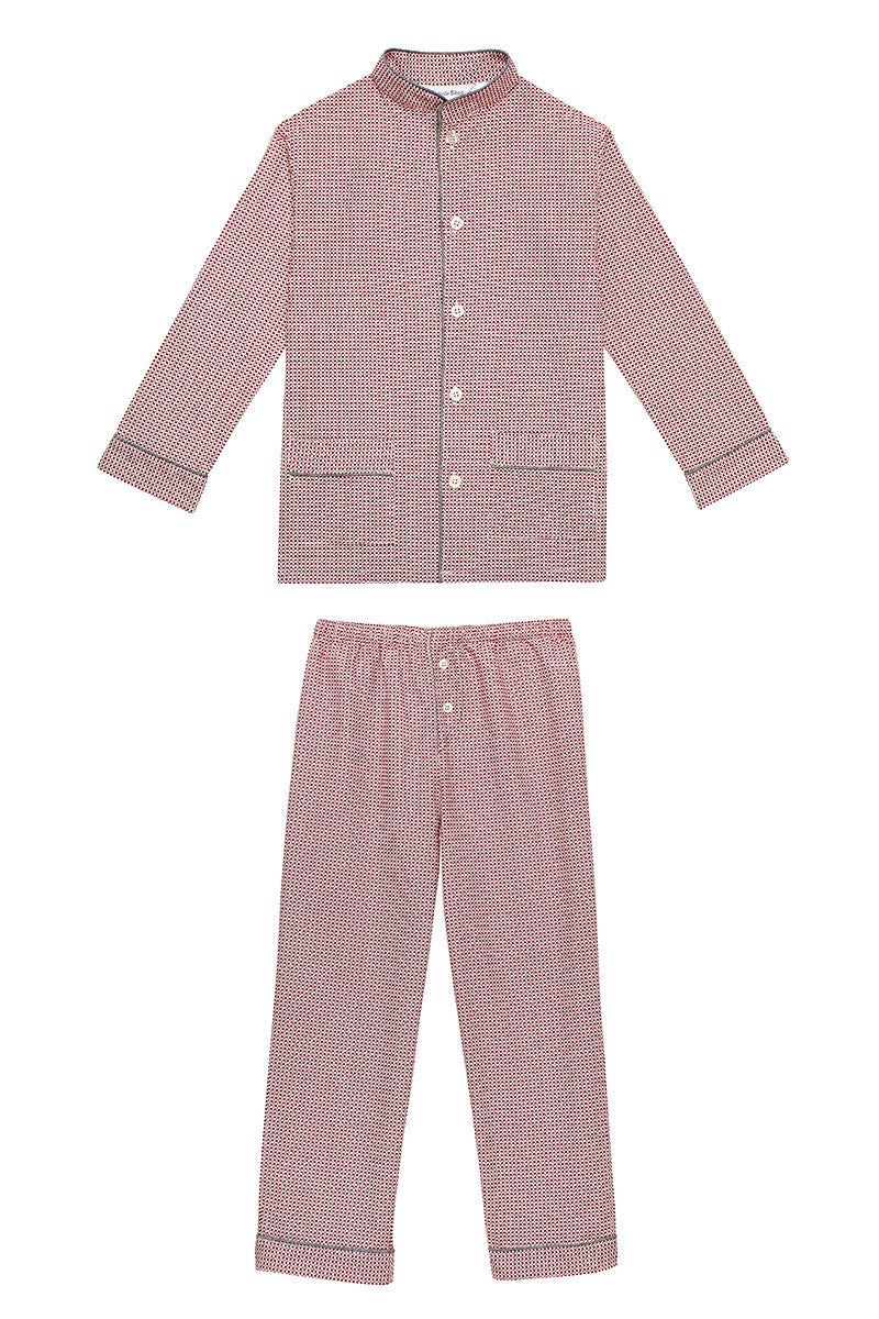 Georges boys red pyjamas Winter collection personalised pyjamas - luxury nightwear for kids
