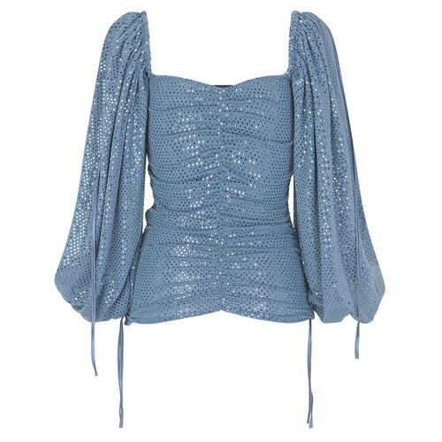 RAVN CLOTHING ERICA TOP Blouse 141 Blue Sequin