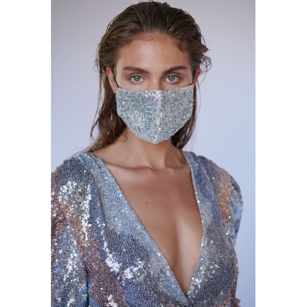 LU-BB Profile Moonlight UNISEX MASK 126 Silver Sequin