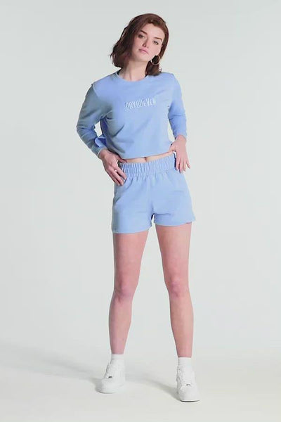 Staple Cropped Jumper - Blue
