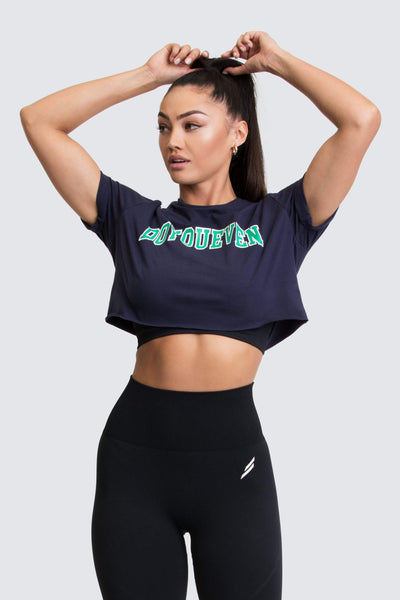Academy Cropped Tee - Navy/Green