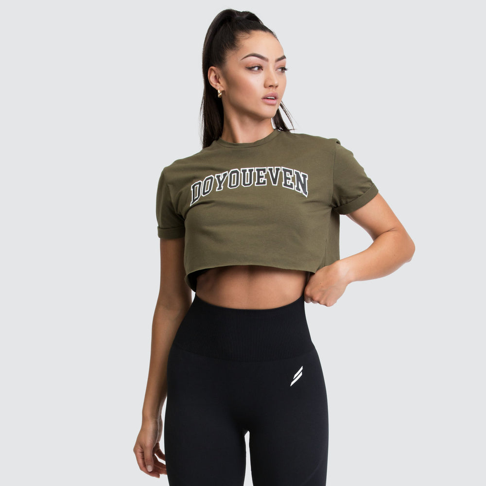 Academy Cropped Tee - Olive/Black