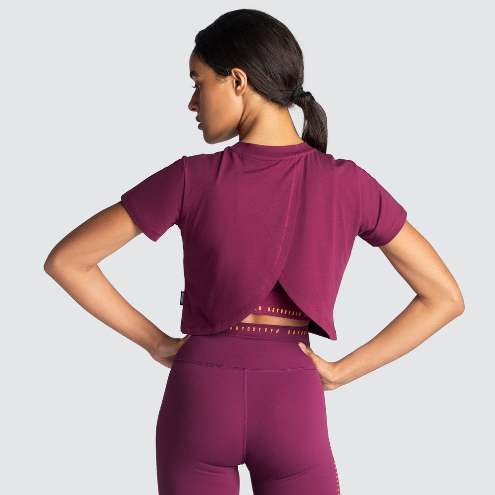 Adapt Cropped Tee - Rich Burgundy