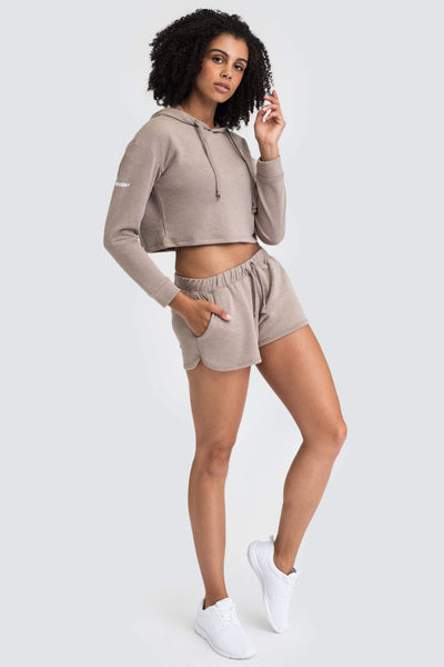 Freedom Cropped Hoodie - Taupe Brown