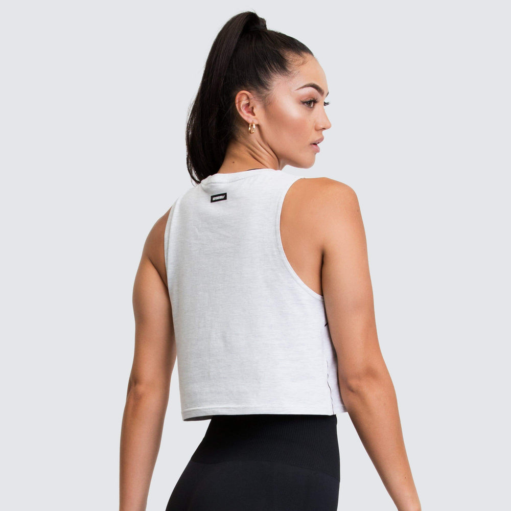 Icon Cropped Muscle Tank - Grey Marl